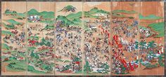 Sekigahara battle screen painting depicting the battle of Sekigahara Screen /. Japanese. 関ヶ原の戦いを描いた関ケ原合戦図屏風/Wikipedia