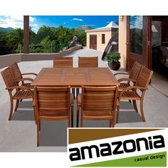 Enjoy your outdoor living space more with this chic square dining set. Featuring a square table and eight stackable chairs all made of sturdy eucalyptus wood, this set is easy to take care of and provides plenty of seating for your guests.