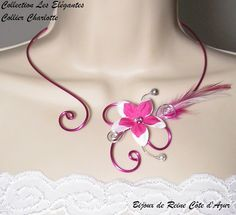 Collier mariage - Collection Les Elégantes - Collier Charlotte- Collier aluminium fleur en soie : Collier par bijoux-de-reine-cote-d-azur