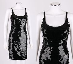 VTG SAKS FIFTH AVENUE BLACK PAILLETTE SEQUINED SLEEVELESS EVENING PARTY DRESS 4 #SaksFifthAvenue #Cocktail