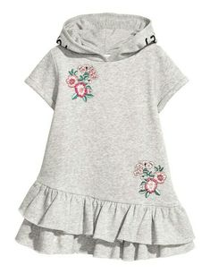 H&M Hooded Sweatshirt Dress - Gray Short-sleeved dress in sweatshirt fabric with embroidery. Hood, kangaroo pocket, and seam at lower section with double flounce. Fashion Kids, Toddler Fashion, Toddler Outfits, Kids Outfits, Classy Fashion, Womens Fashion, Fashion Trends, Kids Dress Patterns, Sewing Shirts