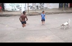 Clever Dog Learns To Play Jump Rope With Kids