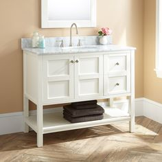 "42"" Bowman White Vanity - Carrara Marble Top"