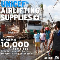 Notfall Philippinen: UNICEF setzt alles daran den Kindern und ihren Familien nach dem Katastrophen-Taifun 'Haiyan' zu helfen! 60 Tonnen Hilfsgüter für 10.000 Familien sind auf dem Luftweg unterwegs. www.unicef.at Recent Earthquakes, Bohol, Philippines, Families, First Aid, Kids
