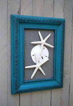 Coastal Decor, Beach Decor, Cottage Chic, Sea Shell Art, Sea Shells Home Decor, TEAL & GREY, Modern Vintage Look on Etsy, $28.99