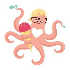 "Gefällt 22 Mal, 1 Kommentare - CONFETTI FRIENDS (@confetti.friends) auf Instagram: ""🐙🍦💦 #confettigraphic #childrenillustration #confetti #graphic #tshirt #cool #octopus #ice #animal…"""
