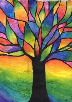 Arbol de colores by Julia-EVS on DeviantArt Oil Pastel Paintings, Oil Pastel Art, Oil Pastel Drawings, Art Drawings, Oil Pastels, Color Pencil Art, Whimsical Art, Acrylic Art, Art Plastique