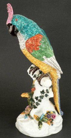 A Large Meissen Porcelain Parrot
