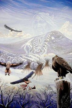 Eagle spirit of the mountain native american art