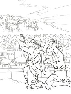 Elisha Fiery Army Coloring Page Bible Story Crafts School Sunday