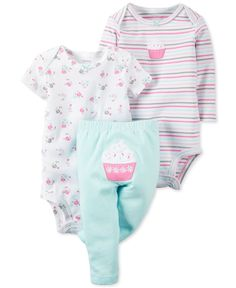 Dress baby girl in deliciously sweet style with this three-piece cupcake-themed casual set, which features two bodysuits and a pair of pull-on pants. | Cotton | Machine washable | Imported | Short-sle