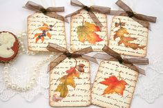 Autumn Gift Favor Tags  Vintage Fall Leaves  by OnTheWingsPaperie