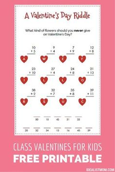 these funny valentines for kids double as a math game