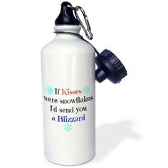 3dRose if kisses were snowflakes Id send you a blizzard, Sports Water Bottle, 21oz