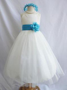 Flower Girl Dress IVORY w/ Turquoise RB2 Wedding Children Easter Bridesmaid Communion Green Sage Fuchsia Blue Aqua