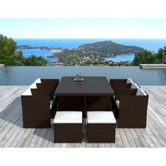 Salon de jardin table basse ronde + 4 chaises FILAE aspect fer ...