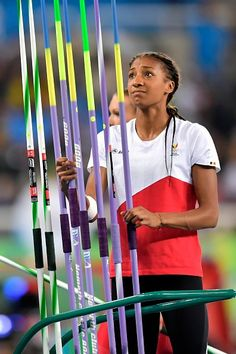Thiam Nafissatou of Belgium gets ready for the Athletics Women's Heptathlon… Female Athletes, Women Athletes, Sports Women, Female Sports, Javelin Throw, Rio 2016 Pictures, Heptathlon, Summer Dream, Sports Stars