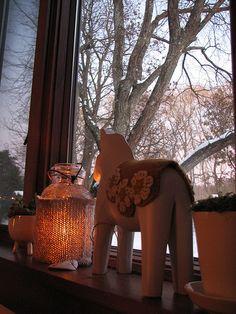 dala horse and candle  a knit sleeve on a mason jar candle hmmm
