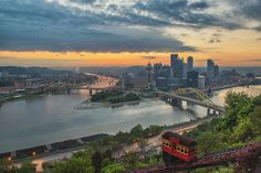 Sunrise over PIttsburgh above the Duquesne Incline