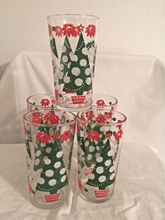 Vintage Christmas Glasses Holiday New Years Glasses Retro Red And Green - Set of 5 by CountryMileCottage on Etsy
