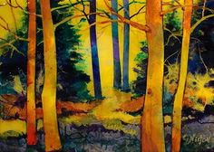Sunny Day 14034 by Carol Nelson mixed media ~ 6 x 8 Also available as a 5x7 canvas mini print.