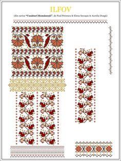 Semne Cusute: iie din MUNTENIA, Ilfov Beaded Cross Stitch, Cross Stitch Borders, Cross Stitch Designs, Cross Stitching, Cross Stitch Patterns, Folk Embroidery, Embroidery Stitches, Embroidery Patterns, Machine Embroidery