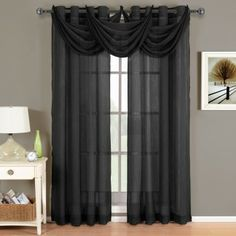Abri Black Grommet Crushed Sheer Curtain Panel http://smarttimeshop.com/window-curtians/716-abri-black-grommet-crushed-sheer-curtain-panel.html