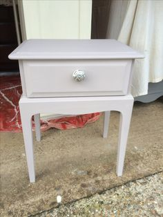 Painted Annie Sloan Chalk Paint Paloma and finished with a clear wax. Love this colour.