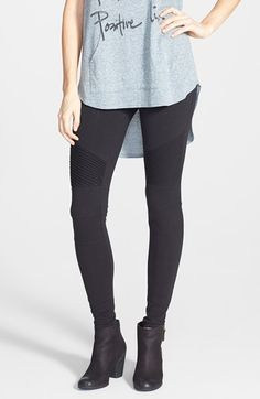 Free shipping and returns on BP. Moto Leggings (Juniors) at Nordstrom.com. Ribbed thighs and articulated knees lend on-trend moto attitude to curve-hugging black leggings cut from smooth stretch cotton.