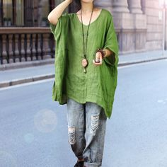 Women of pure flax splicing design loose Raglan personality sleeve Pullover