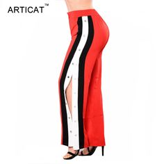 Sibybo Rivet Panelled Casual Pants Women Elastic Waist Split Long Wide Leg Pants  Summer Autumn High Waist Loose Pants for Women 465fa2a5d39