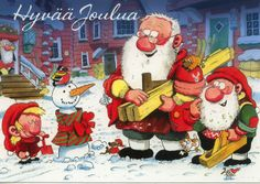 Mauri Kunnas Christmas Books, Vintage Christmas Cards, Christmas Images, Long Winter, Gnomes, My Images, Finland, Pixie, Pure Products