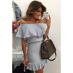 Omuzları Açık Mini Elbise