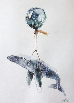 blue - whale and baloon - To: far, far, away - illustration - Brigitte May Art Aquarelle, Watercolor Art, Art And Illustration, Lapin Art, Whale Tattoos, Whale Art, Art Graphique, Painting & Drawing, Whale Painting