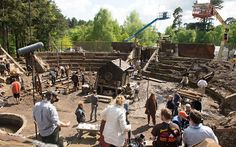 On the set of A Little Chaos as the crew constructs one of the sets used for the Gardens of Versailles