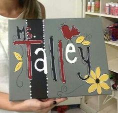 Teacher canvas painting Teacher Canvas, Teacher Name Signs, Canvas Paintings, Teaching Tools, Burlap, Crafts For Kids, Trees, Birds, Paintings On Canvas