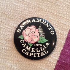 1970 Sacramento Button Camellia Capital Pin Vintage pin! Great Condition. California state capital. Great for politicians ;) or collectors. Vintage Jewelry Brooches