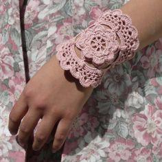 Romantic Dusty Rose Lace Crochet Cuff