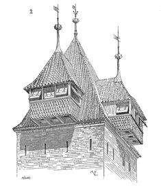 Bretèche from Deniers tower in Strasbourg. + Other illustrations, cross-sections and explanations (in French).  In medieval fortresses, a bretèche or brattice is a small balcony with machicolations, usually built over a gate and sometimes in the corners of the fortress' wall, with the purpose of enabling defenders to shoot or throw objects at the attackers huddled under the wall.