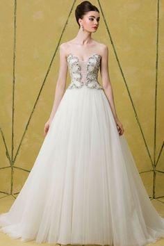 Vestido de noiva com corpete prateado - Bagdley Mischka 2014 #casarcomgosto
