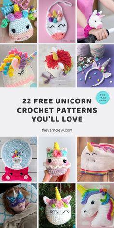Crochet Unicorn Pattern Free, Crochet Unicorn Hat, Free Crochet, Crochet Crafts, Crochet Toys, Crochet Projects, Crochet Ideas, Easy Crochet Animals, Crochet For Kids
