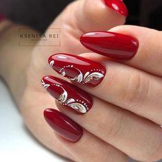 Classy Nail Designs, Red Nail Designs, Elegant Nail Art, Pretty Nail Art, Red Acrylic Nails, Red Nails, Nails Today, Valentine Nail Art, Nagellack Design