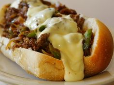 Slow Cooker Philly Cheese Steak - Sometimes we are just too tired of cooking, we just want a sandwich for lunch as a change right? I made this slow cooker philly cheese steak many times for dinner, and sometimes for lunch! Slow Cooker Recipes, Crockpot Recipes, Cooking Recipes, Easy Recipes, Cooking Ideas, Skinny Recipes, Dinner Recipes, Healthy Recipes, Cheese Steak Sandwich Recipe