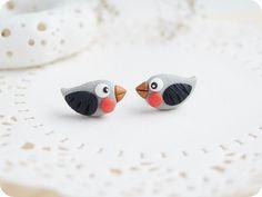 Winter Earring Studs Cute Little Bird - Tiny Bullfinch Bird earrings - Christmas Earrings - Polymer clay black and red jewelry by YaTomkaStore on Etsy