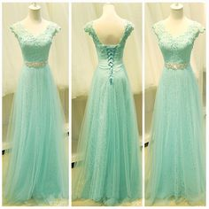 Bg899 V-neck Applique Prom Dresses, Long Tulle Lace