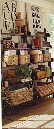 Baskets are just as handy for storage as boxes, and they look good!