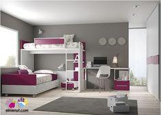 Dormitorio Infantil con Litera Bloc  Armario Recto