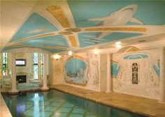 Traditional Swimming Pool with exterior tile floors, Indoor pool