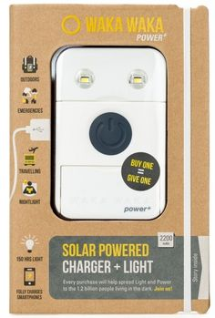 Buy a WakaWaka Solar powered Light or Charger and Another is Donated to a region that needs it. #charity