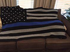 Thin Blue Line American Flag Blanket by creationsbyfran4u on Etsy